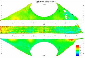 熊本地震による通潤橋の石垣の変位
